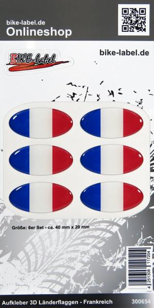 Aufkleber 3D Länder-Flaggen Frankreich France 6 Stck. je 40 x 20 mm