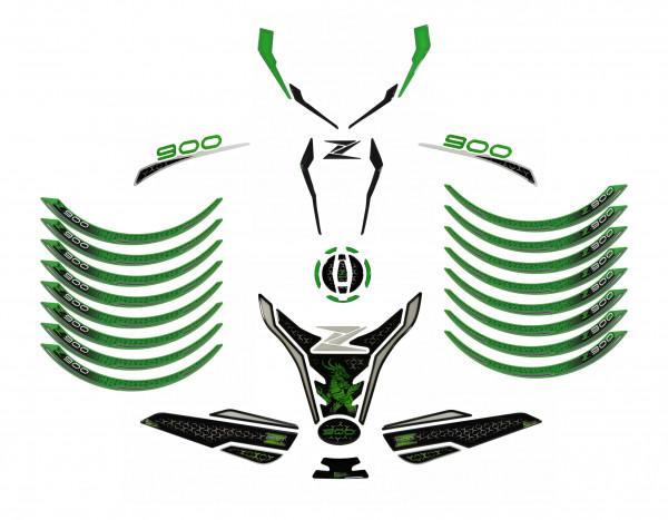 Motorrad Aufkleber Set Tankschutz Grün Schwarz kompatibel für Kawasaki Z900