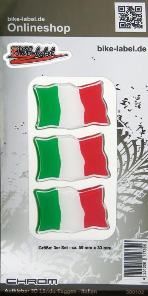 Aufkleber 3D Länder-Flaggen - Italien Italy 3 Stck. je 50 x 33 mm mit Chromrand