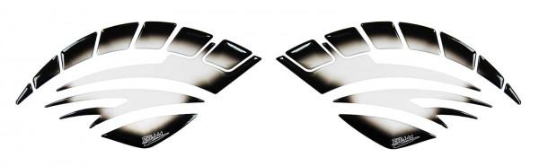 Knee Pad / Seitentankpad - Transparent / Schwarz-Verlauf Form 1