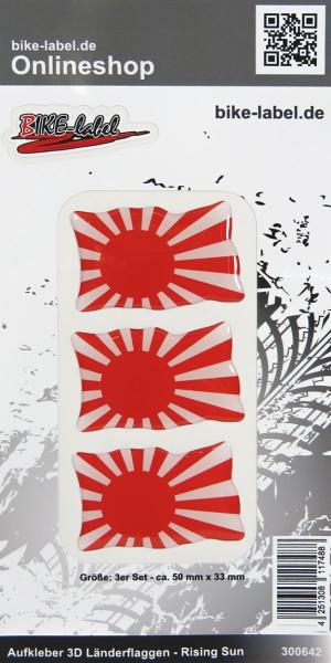 Aufkleber 3D Länder-Flaggen Rising Sun 3 Stck. je 50 x 33 mm