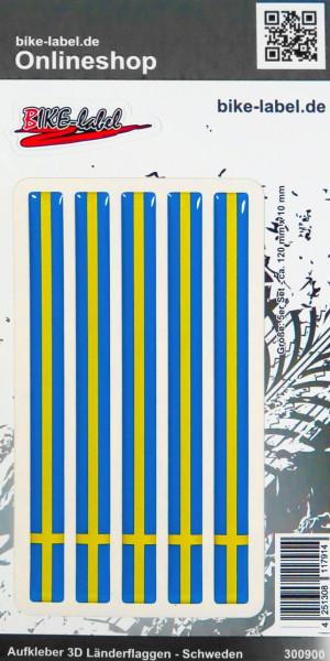 Aufkleber 3D Länder-Flaggen Schweden Sweden 5 Stck. je 120 x 10 mm