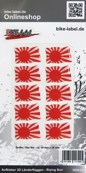 Aufkleber 3D Länder-Flaggen Rising Sun 10 Stck. je 30 x 20 mm