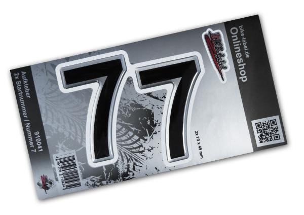 BIKE-label 910041 Startnummer Aufkleber Sticker Set silber 2x Nummer 7