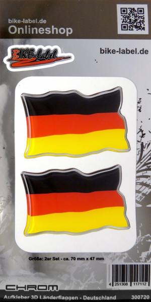 Aufkleber 3D Länder-Flaggen Deutschland mit Chromrand 2 Stck. je 70 x 47 mm