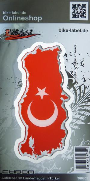 Aufkleber 3D Länder-Flaggen Türkei mit Chromrand 55 x 124 mm