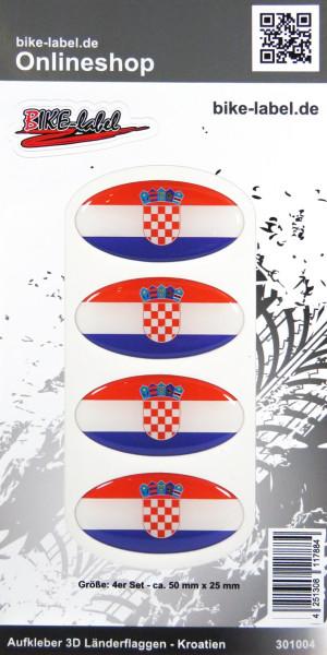 Aufkleber 3D Länder-Flaggen Kroatien Croatia 4 Stck. je 50 x 25 mm