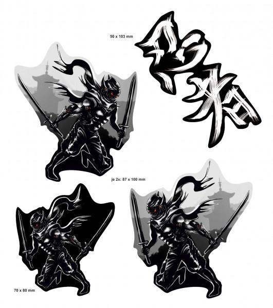 BIKE-label 400075 Aufkleber Sticker Ninja schwarz weiß mit Samurai Schwert