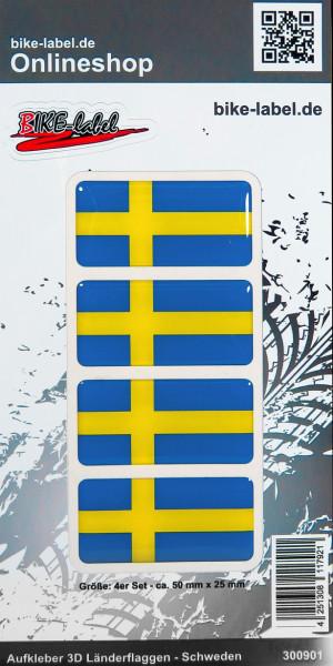 Aufkleber 3D Länder-Flaggen Schweden Sweden 4 Stck. je 50 x 25 mm