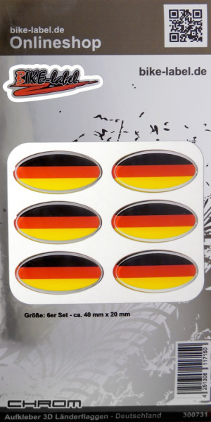 Aufkleber 3D Länder-Flaggen Deutschland mit Chromrand 6 Stck. je 40 x 20 mm