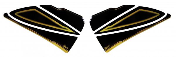 BIKE-label 800360 Seitentank Pad Gold Schwarz Black kompatibel für Yamaha FZ 800