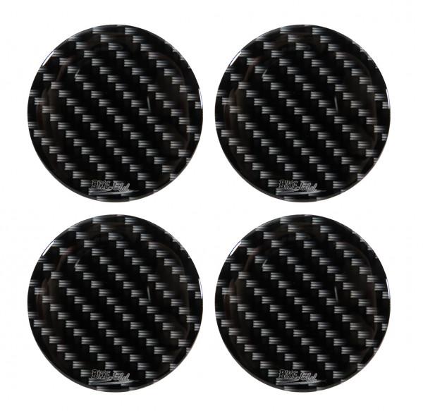 Nabenkappen Aufkleber für Auto-Felge Carbon-Optik Schwarz Black Druck 60 mm