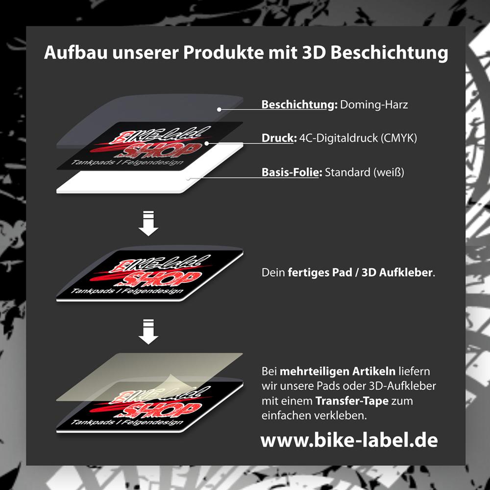 Mini-Tankpad 3D 501862 Transparent Tank-Schutz f/ür Motorrad-Tank
