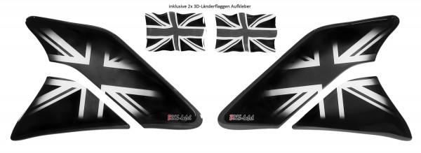 Seiten-Tankpad Set Lackschutz Aufkleber für Motorrad-Tanks - Union Jack - Form 6