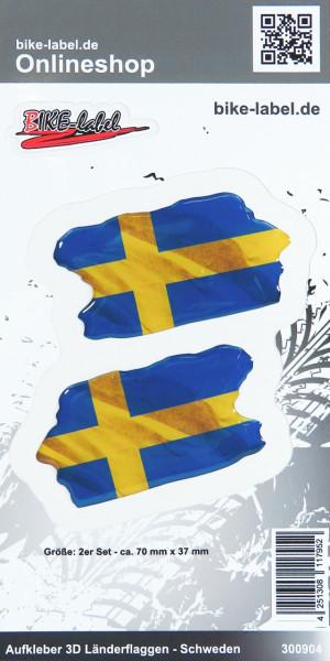 Aufkleber 3D Länder-Flaggen Schweden Sweden 2 Stck. je 70 x 37 mm