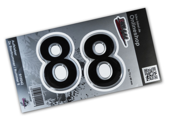 BIKE-label 910042 Startnummer Aufkleber Sticker Set silber 2x Nummer 8