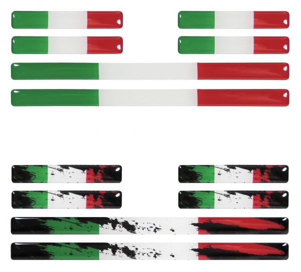 Italien 3D Aufkleber Flaggen 12 Stück im Set Sticker für Auto Kfz Motorrad