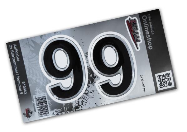 BIKE-label 910043 Startnummer Aufkleber Sticker Set silber 2x Nummer 9