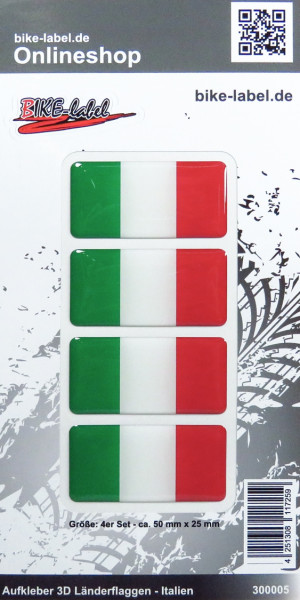 Aufkleber 3D Länder-Flaggen - Italien Italy 4 Stck. je 50 x 25 mm