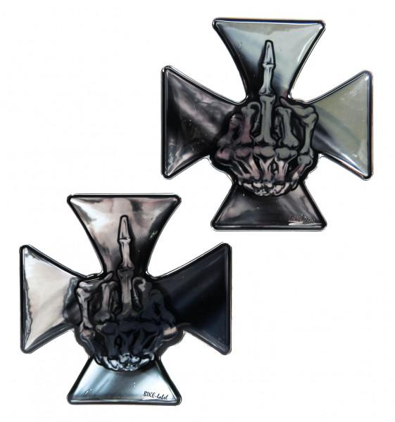 BIKE-label 910051 Aufkleber 3D Iron Cross fuck off Eisernes Kreuz Chrom