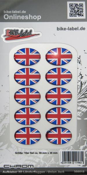 Aufkleber 3D Länder-Flaggen Union Jack - England Chrom