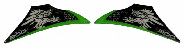 Dekor Schutz-Aufkleber Grün Drache Sitzverkleidung kompatibel für Kawasaki Z900