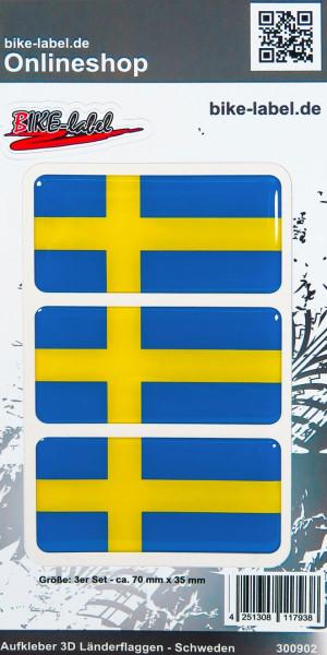 Aufkleber 3D Länder-Flaggen Schweden Sweden 3 Stck. je 70 x 35 mm