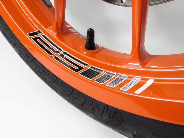 Felgenbett Aufkleber 125 Black 4er Set passend für KTM 125 Duke