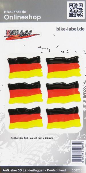 Aufkleber 3D Länder-Flaggen Deutschland 6 Stck. je 40 x 26 mm