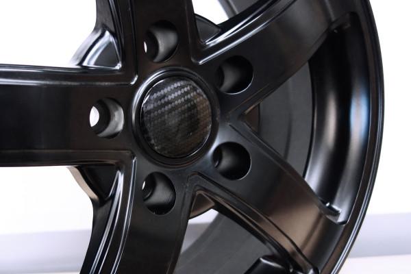 Nabenkappen Aufkleber für Auto-Felge Carbon Schwarz Optik 50 mm