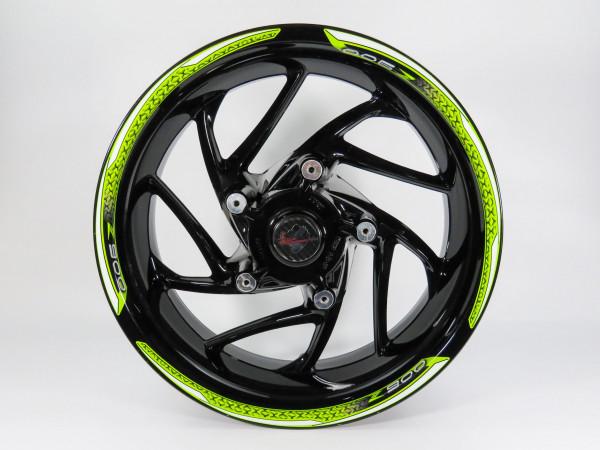 Set Felgenrand Aufkleber Grün Weiß Streifen kompatibel für Kawasaki Z900