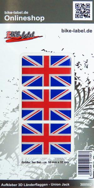 Aufkleber 3D Länder-Flaggen Union Jack - England - Großbritannien