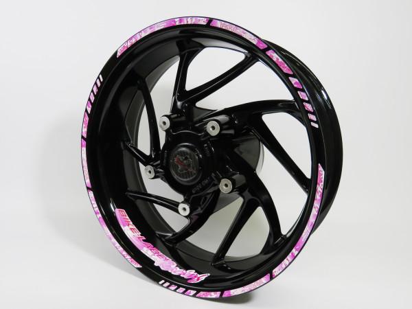 BIKE-label 710030 Felgenrand Aufkleber Racing Pink Kleckse Spritzer