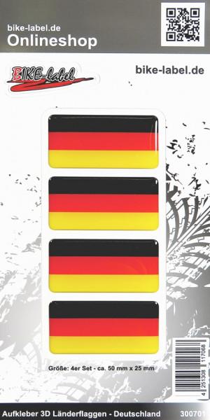Aufkleber 3D Länder-Flaggen Deutschland 4 Stck. je 50 x 25 mm