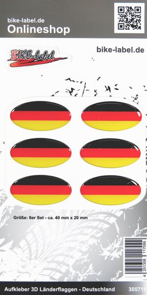 Aufkleber 3D Länder-Flaggen Deutschland 6 Stck. je 40 x 20 mm