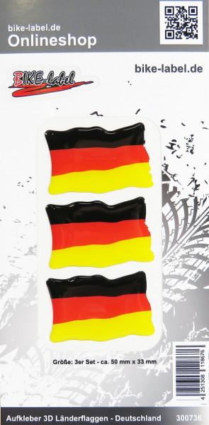 Aufkleber 3D Länder-Flaggen Deutschland 3 Stck. je 50 x 33 mm