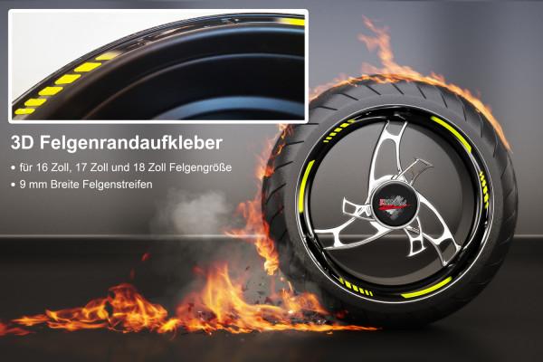 BIKE-label 700005 3D Felgenrand Aufkleber Gelb und schwarz