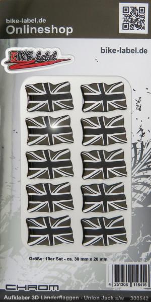 Aufkleber 3D Länder-Flaggen Union Jack - England - Großbritannien Chrom