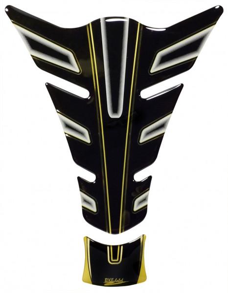 Lackschutz Aufkleber für Motorrad Tanks - Gold Stripe Black and White - Form 32