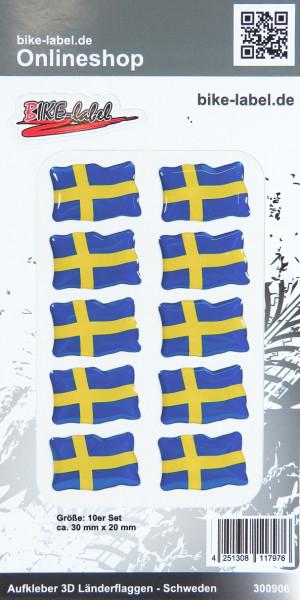 Aufkleber 3D Länder-Flaggen Schweden Sweden 10 Stck. je 30 x 20 mm