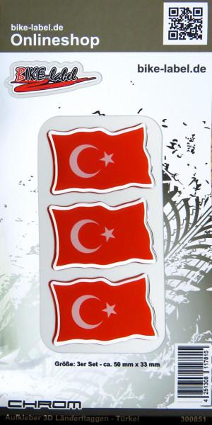 Aufkleber 3D Länder-Flaggen Türkei mit Chromrand 3 Stck. je 50 x 33 mm