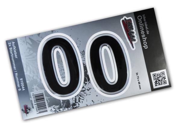 BIKE-label 910044 Startnummer Aufkleber Sticker Set silber 2x Nummer 0