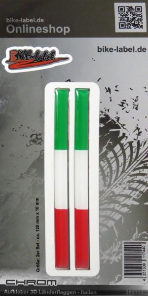 Aufkleber 3D Länder-Flaggen - Italien Italy 2 Stck. je 120 x 10 mm mit Chromrand