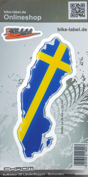 Aufkleber 3D Länder-Flaggen Schweden mit Chromrand 60 x 135 mm