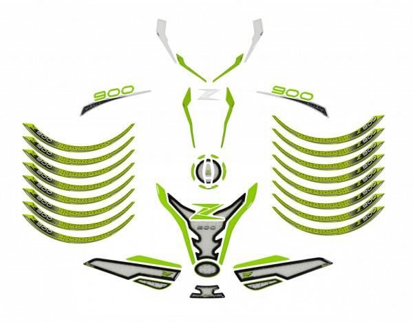 Motorrad Aufkleber Set Tankschutz Grün Weiß kompatibel für Kawasaki Z900