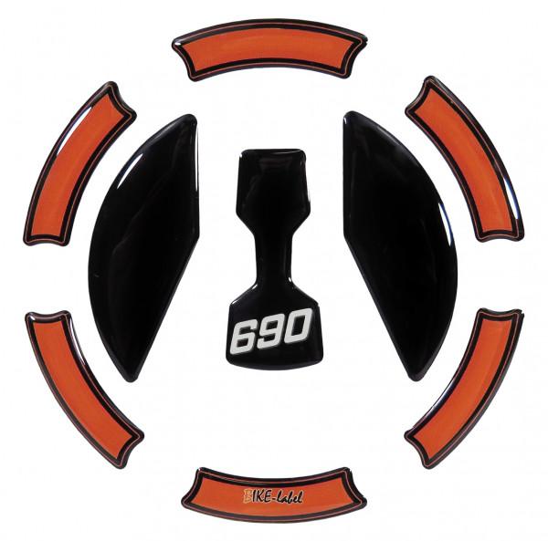Tankdeckel-Pad Lackschutz Aufkleber passend für KTM 690 Duke - Styling Black/Orange