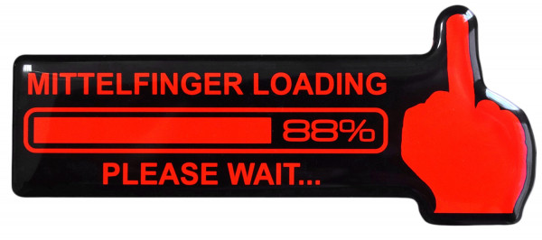 BIKE-label 910009 Aufkleber neon rot Mittelfinger Loading Sticker fürs Auto