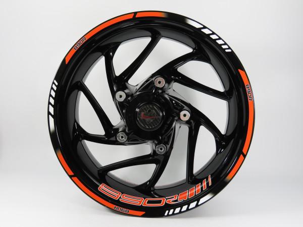 BIKE-label 710049 Set Felgenrand + Felgenbett Aufkleber Orange-Stripes kompatibel für KTM 890 Duke R