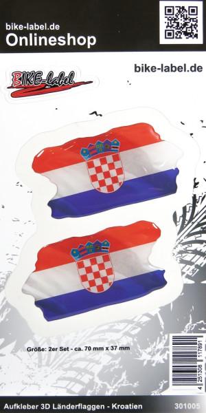 Aufkleber 3D Länder-Flaggen Kroatien Croatia 2 Stck. je 70 x 37 mm