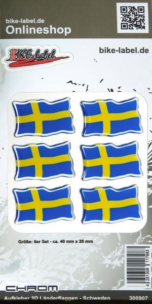 Aufkleber 3D Länder-Flaggen Schweden mit Chromrand 6 Stck. je 40 x 26 mm